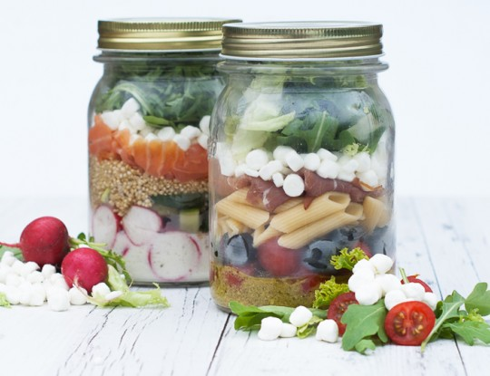 'salad in a jar' met bettine geitenkaas saladebolletjes