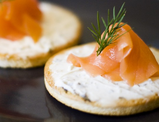 toast with salmon and goat's cheese spread