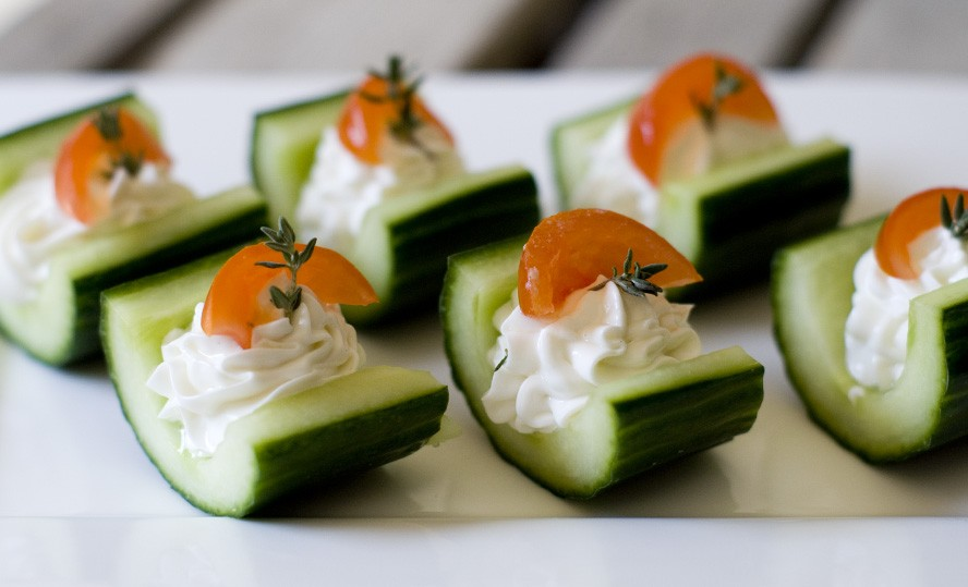 cucumber filled with goat's cheese