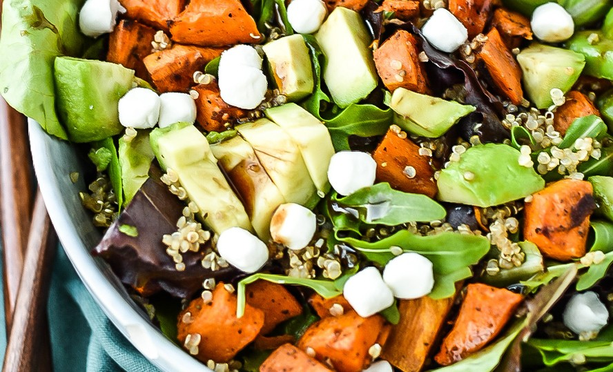 Roasted sweet potato and quinoasalad with Bettine goat's cheese pearls