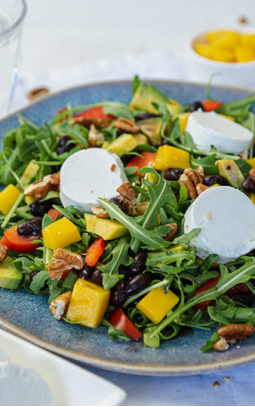 Goat's Cheese salad with mango & avocado