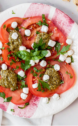Tomato, pesto, olive oil and goat's cheese