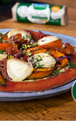 Pumpkin spice pizza with goat's cheese