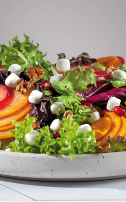 Salad with plums, pomegranate, walnuts and goat's cheese pearls
